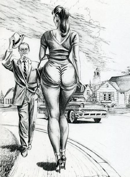 Mann grüßt großgewachsene Frau, Zeichnung eines unbekannten Künstlers