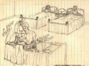 Erinnerungen an Erzieherin in Schulheim, Zeichnung