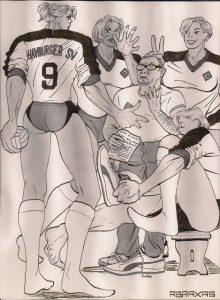 Zeichnung von Abraxas: Volleyballspielerinnen mit ihrem Trainer